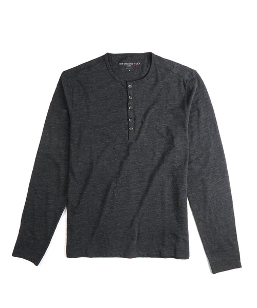 MELANGE 5 BUTTON LONG SLEEVE HENLEY / BLACK