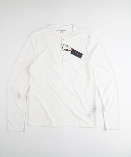 LONG SLEEVE MELANGE 5 BUTTON HENLEY / IVORY
