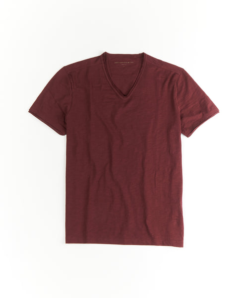 MILES' SLUB V-NECK SHIRT / BURGUNDY