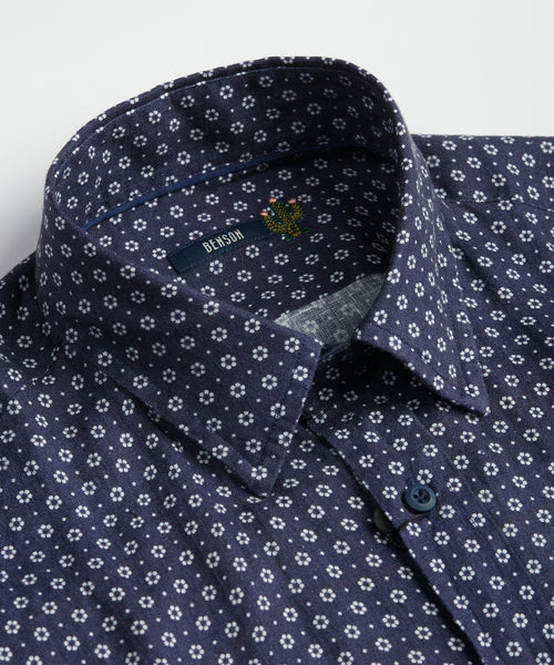 Benson Navy Floral Linen Short Sleeve Shirt