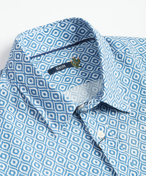Benson Linen Light Blue Short Sleeve Shirt