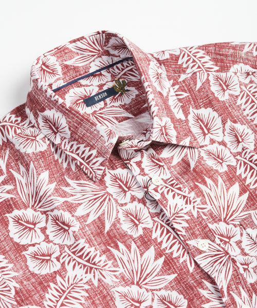 Benson Red Hawaiian Linen Short Sleeve Shirt