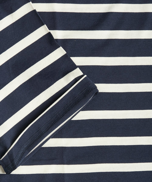 BRETON STRIPE CREW NECK T-SHIRT / NAVY