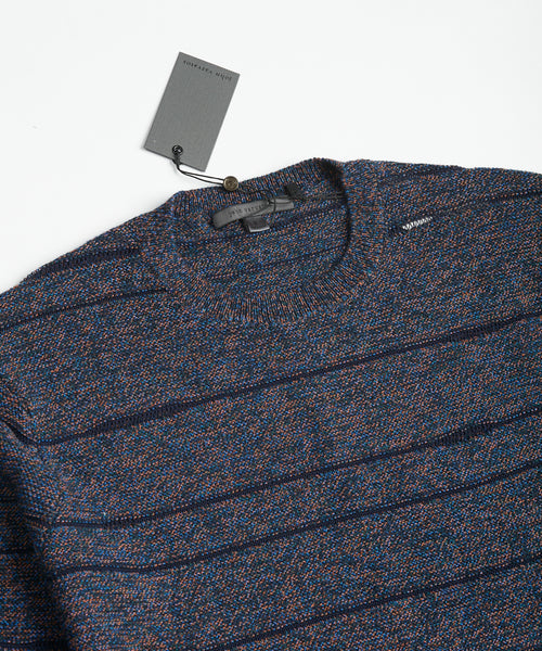 JACQUARD STRIPED SWEATER / BLUE