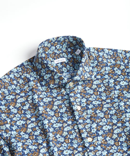 ECO-TECH FLORAL SHIRT / BROWN
