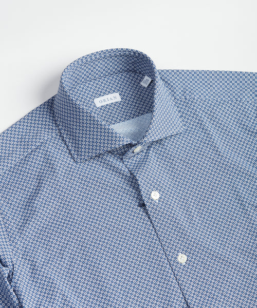 ECO-TECH NEAT PATTERN SPORT SHIRT / BLUE