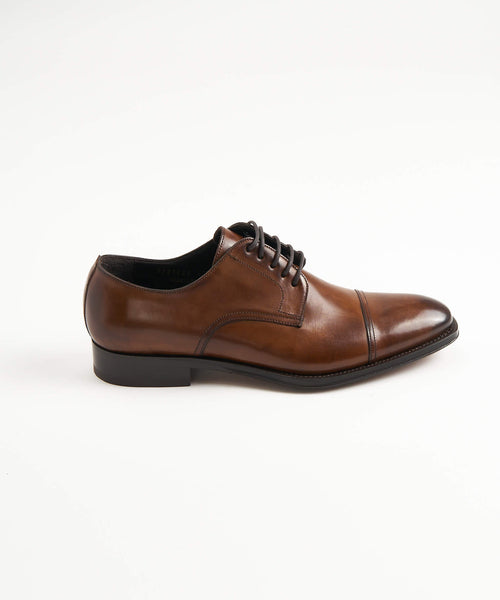 CAP TOE DERBY SHOE / COGNAC