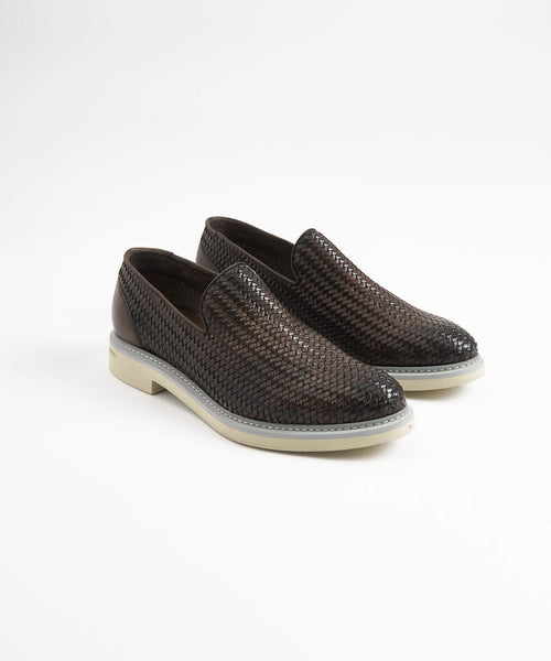 WOVEN LEATHER LOAFER / BROWN