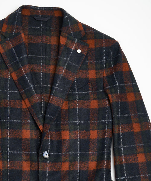 L.B.M. 1911 Red Knit Plaid Boucle Sport Jacket