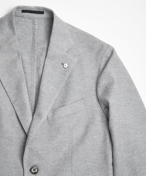 L.B.M.1911 SOFT COTTON GREY HERRINGBONE SPORT JACKET
