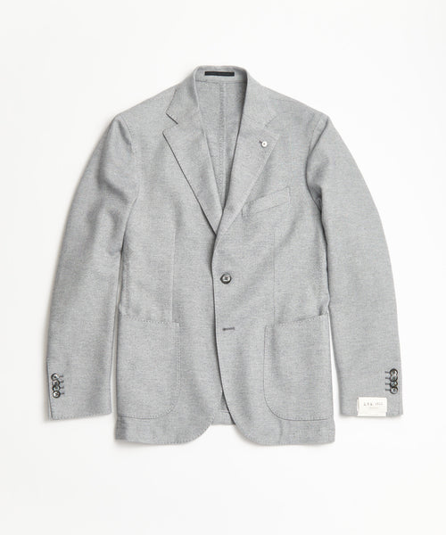 L.B.M.1911 SOFT BRUSHED COTTON GREY HERRINGBONE SPORT JACKET
