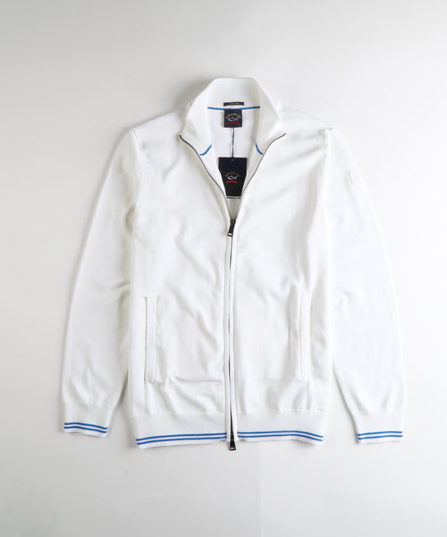 FULL ZIP COTTON BLEND CARDIGAN / WHITE