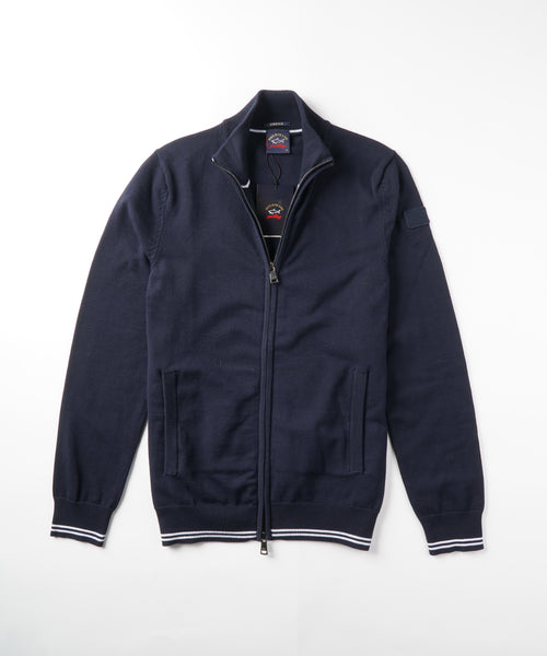 FULL ZIP COTTON BLEND CARDIGAN / NAVY
