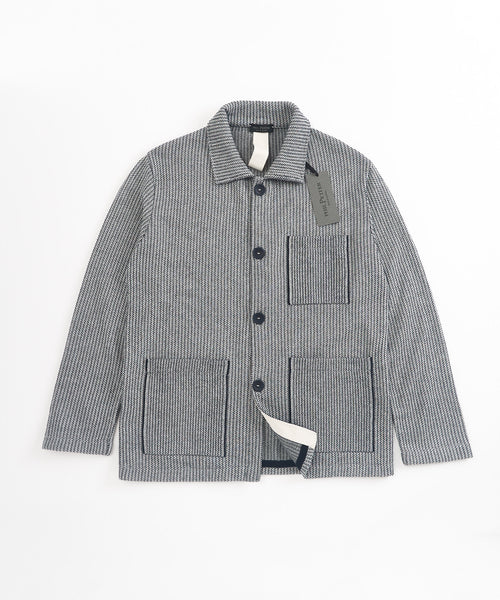 STRIPED CHORE SWEATER JACKET / NAVY