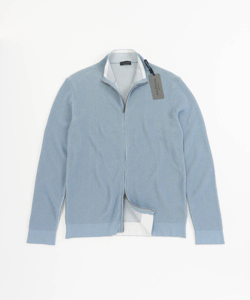 RIB OMBRE ZIP SWEATER / LIGHT BLUE