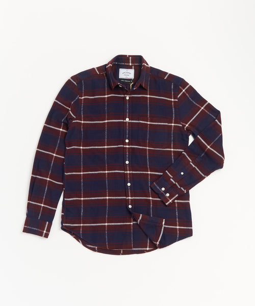 PORTUGUESE FLANNEL BORDEAUX PLAID FLANNEL SHIRT
