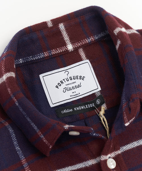 PORTUGUESE FLANNEL BORDEAUX BLUE PLAID FLANNEL SHIRT
