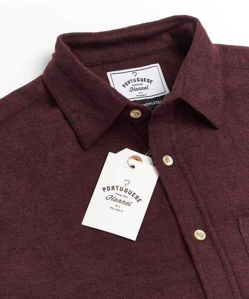PORTUGUESE FLANNEL SOLID BURGUNDY FLANNEL SHIRT