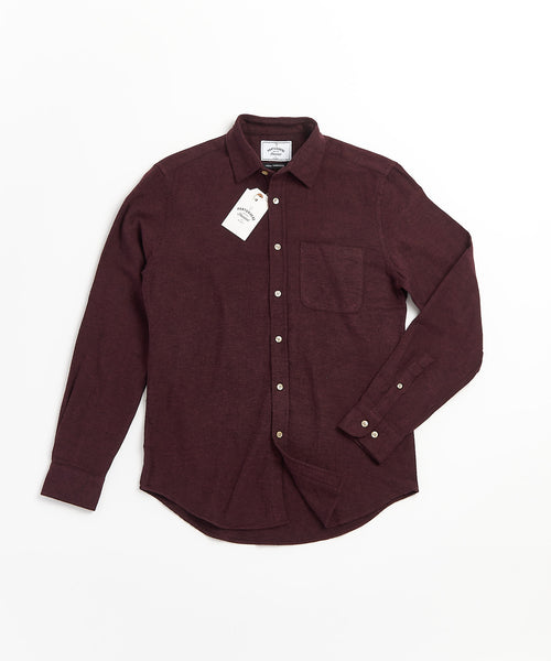 PORTUGUESE FLANNEL SOLID BORDEAUX FLANNEL SHIRT