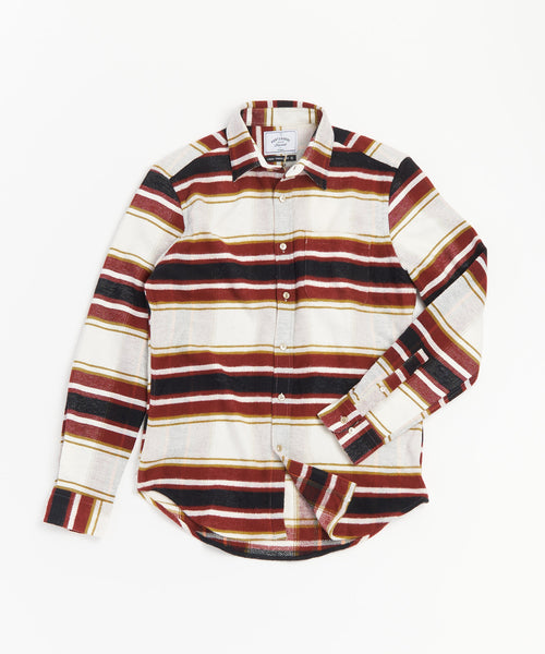 PORTUGUESE FLANNEL BRICK RED HORIZONTAL STRIPE SHIRT