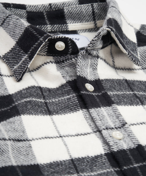 PORTUGUESE FLANNEL PLAID BLACK WHITE FLANNEL SHIRT