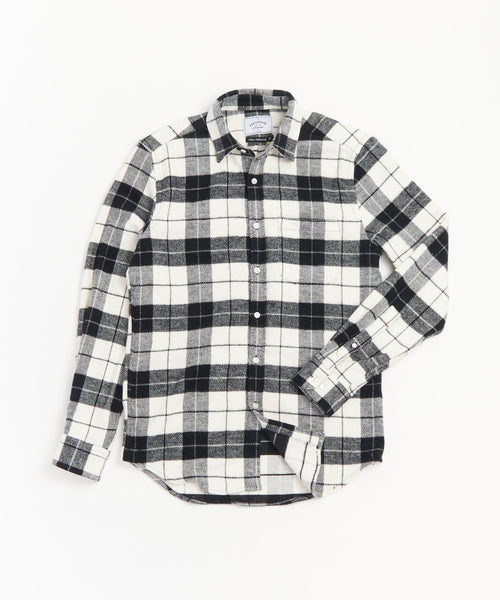 PORTUGUESE FLANNEL PLAID BLACK WHITE SHIRT