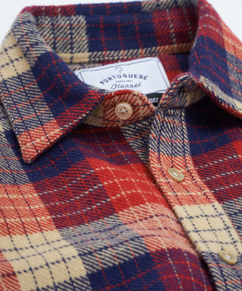 PORTUGUESE FLANNEL RED GEOMETRIC CHECK FLANNEL SHIRT