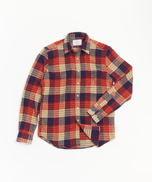 PORTUGUESE FLANNEL GEOMETRIC CHECK FLANNEL SHIRT / RED