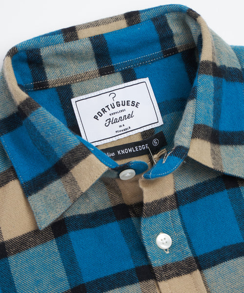PORTUGUESE FLANNEL TURQUOISE BOLD CHECK FLANNEL SHIRT