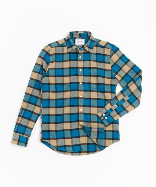PORTUGUESE FLANNEL TURQUOISE TAUPE BOLD CHECK FLANNEL SHIRT