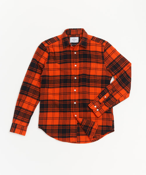 PORTUGUESE-FLANNEL RED ORANGE PLAID SHIRT