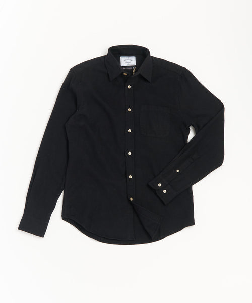 PORTUGUESE FLANNEL SOLID BLACK FLANNEL SHIRT