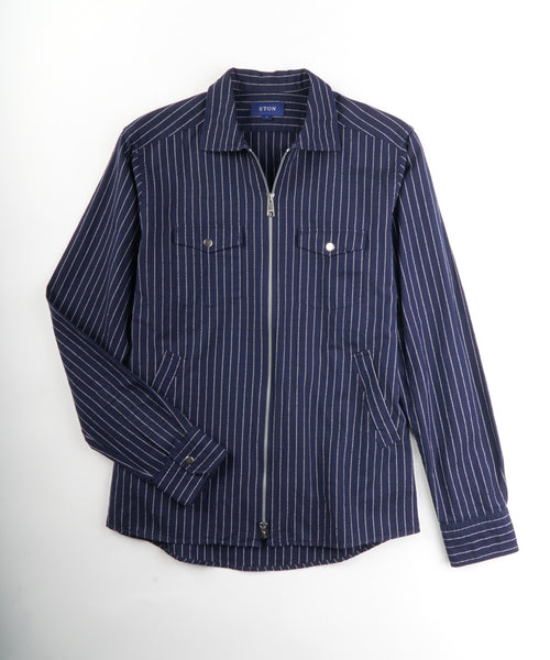 STRIPED SLIM ZIPPER SHIRT JACKET / NAVY