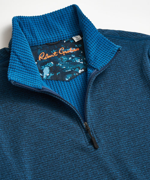 Robert Graham Gareth Teal Quarter Zip Sweater RF206055CF-304