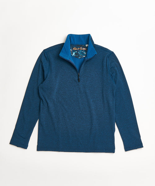 Robert Graham Gareth Teal Quarter Zip Sweater