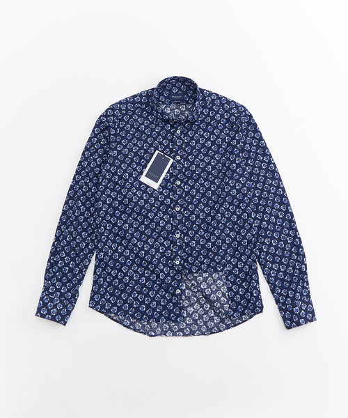 FLORAL PRINT LONG SLEEVE SHIRT / NAVY