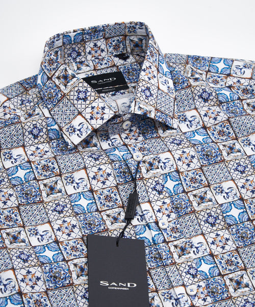 BAROQUE TILE PRINT LONG SLEEVE SHIRT / MULTI