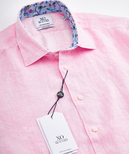 LINEN LONG SLEEVE SHIRT / PINK