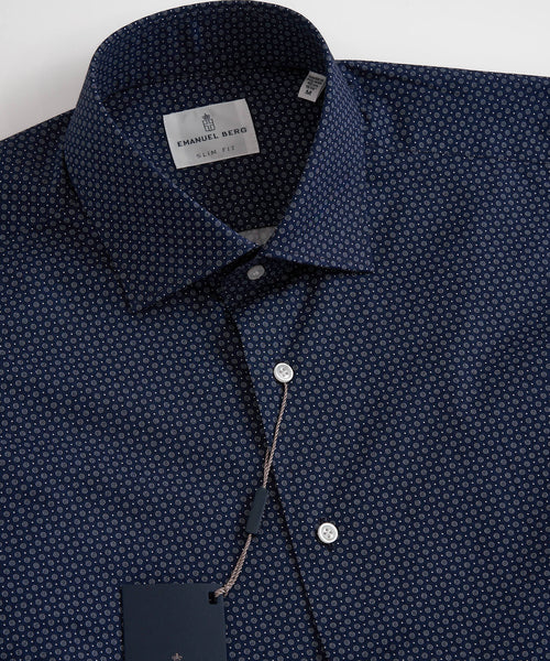 NEAT GEOMETRIC PRINT SLIM SHIRT / NAVY