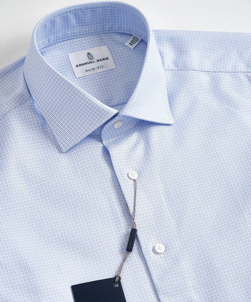BASKETWEAVE HBD MODERN FIT SHIRT / LIGHT BLUE