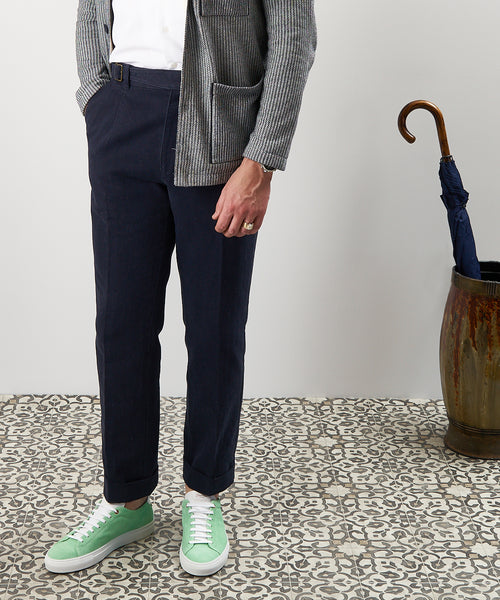 COTTON/LINEN GHURKA RELAXED TROUSERS / NAVY