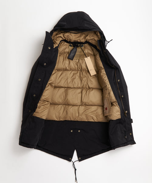 TEN C  BLACK 'OJJ' MICROFIBER DOWN CORE PARKA