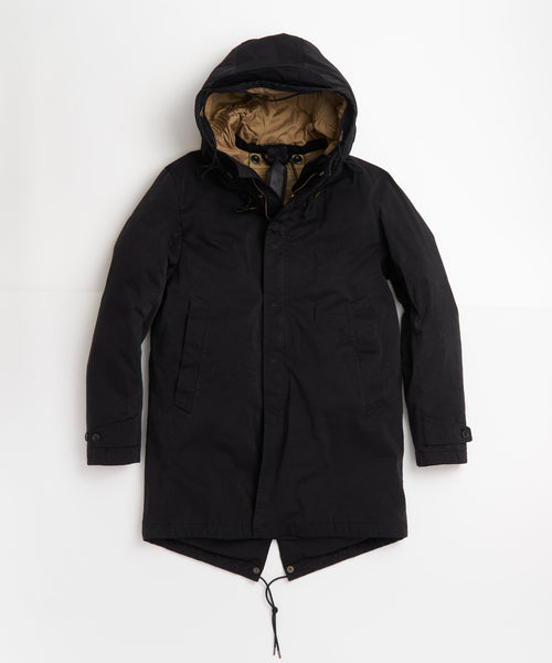 TEN C  BLACK 'OJJ' PIECE DYED MICROFIBER DOWN CORE PARKA