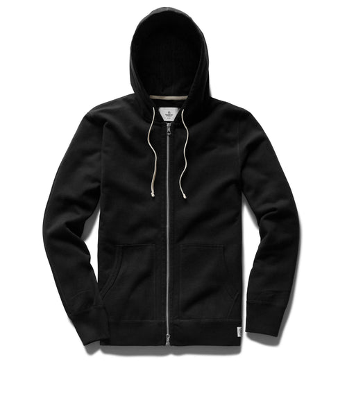 Reigning Champ MIDWEIGHT BLACK TERRY FULL ZIP HOODIE RC-3205-BLACK