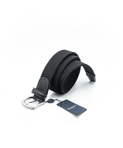 TUBULAR BRAIDED STRETCH BELT / BLACK