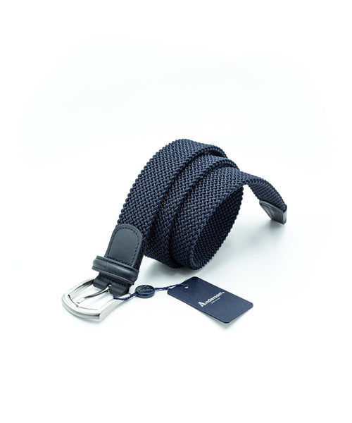 TUBULAR BRAIDED STRETCH BELT / NAVY