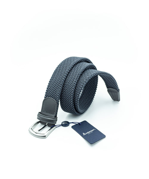 TUBULAR BRAIDED STRETCH BELT / GREY