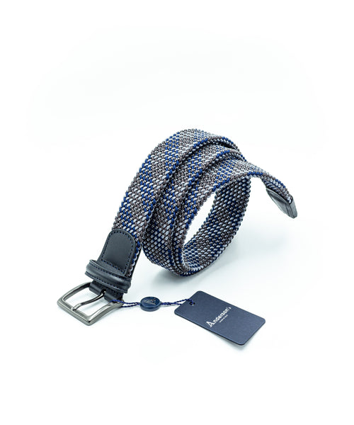 PLAID TUBULAR BRAIDED STRETCH BELT / BROWN
