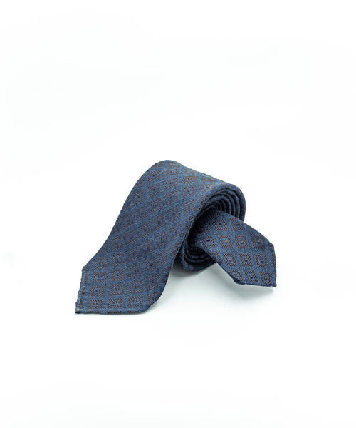 GEOMETRIC SILK & WOOL JACQUARD TIE / BLUE