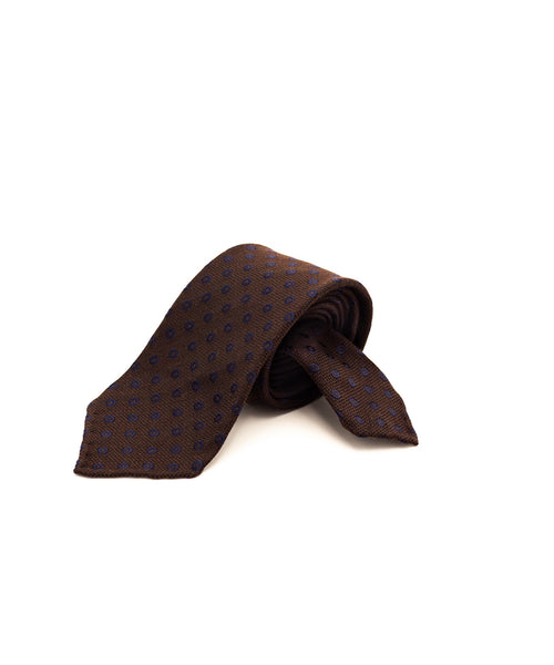 DOT PATTERN JACQUARD TIE / BROWN
